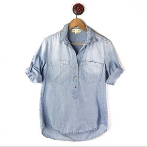 Cloth & Stone xs top button down roll up sleeve